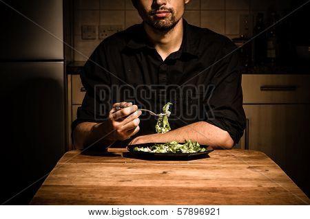 Man At Home Having Dinner