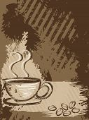 Grunge style background with a cup of coffee and some beans. Graphics are grouped and in several layers for easy editing. The file can be scaled to any size. poster