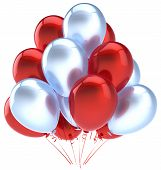 Balloons birthday party decoration red silver balloon. Holiday anniversary retirement celebration icon. Happy joy fun positive good emotion greeting card. 3d render isolated on white background poster
