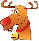 cartoon vector illustration of red nose reindeer poster