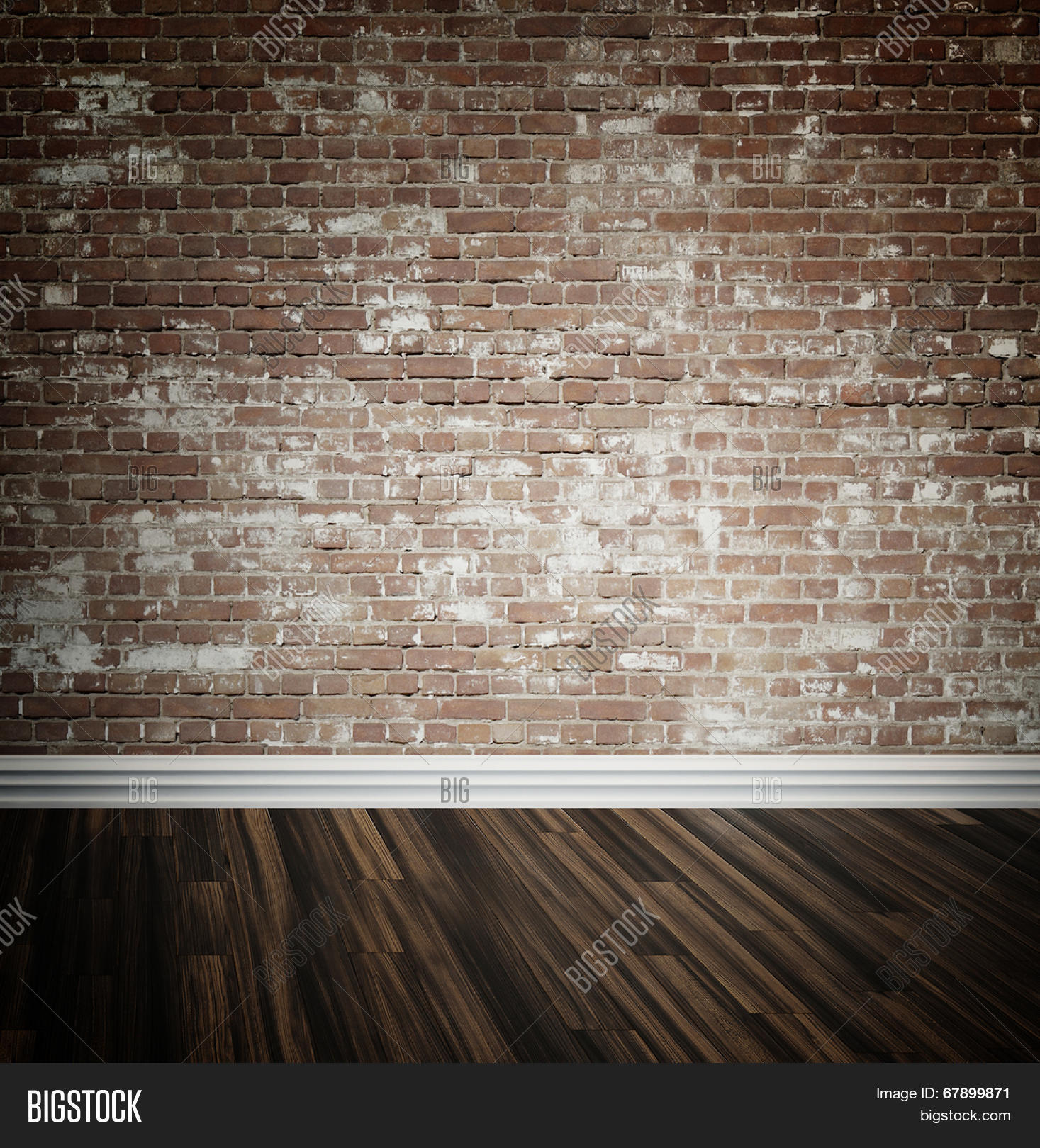 Rustic Face Brick Interior Wall And Wooden Parquet Floor Background With Central Highlight Skirting Board