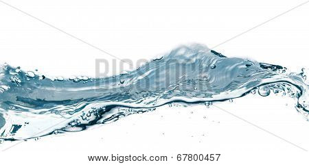 Water Splash Isolated On White. Close Up Of Splash Of Water Forming Flower Shape, Isolated On White