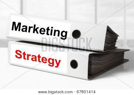 Marketing Strategy White Office Binders