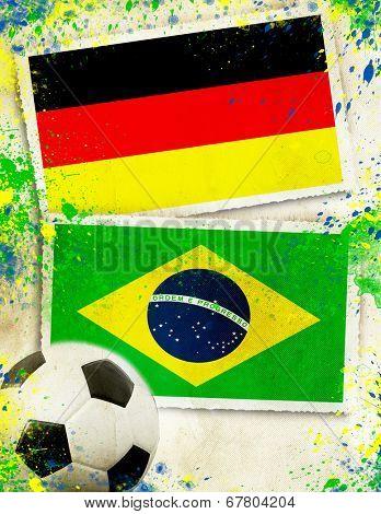 Germany vs Brazil soccer ball concept - semifinals