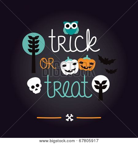 Fun kids halloween illustration pumpkin owl and skull background pattern trick or treat cover design in vector