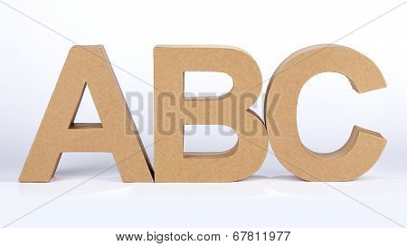 The letters ABC made out of carton poster