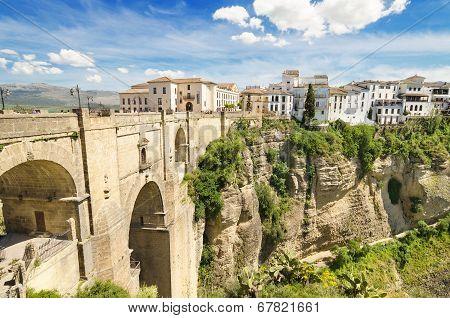 Ronda bridge and canyon Ronda Malaga Andalusia Spain.