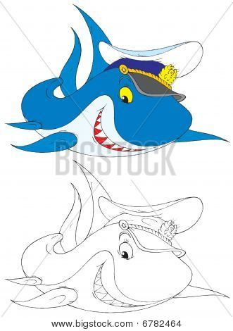 The black-and-white and color illustrations (over white) of the shark wearing the captain?€™s cap like a worldly-wise seaman poster