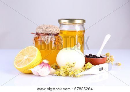 Folk remedies for colds isolated on white