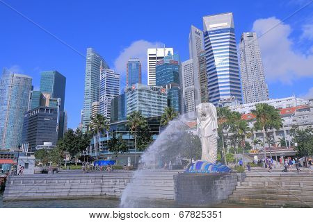 Singapore Skyline and Merlion