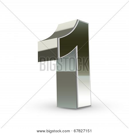 3D Silver Steel Number 1