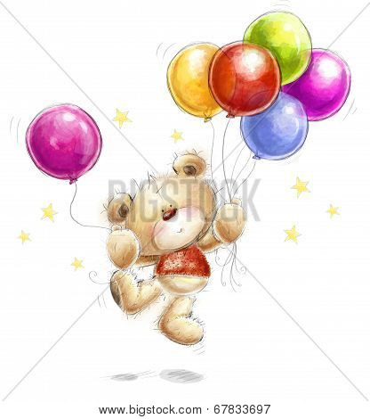 Cute Teddy bear with the colorful balloons and stars..Birthday greeting card. Party invitation.