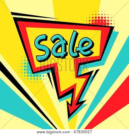 Sale comic speech bubble background in cartoon style.