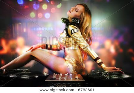 Beautiful Dj Girl On Decks On The Party,