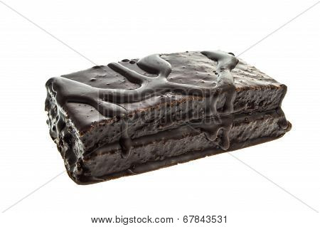 Chocolate Cookie Bar. Isolated On White Background With Clipping Path.