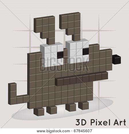 Dog. Pixel Art. Vector for you design poster