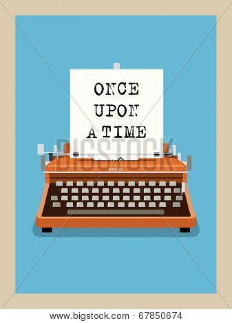 Once upon a time - Retro Typewriter Vector Illustration. Phrase on sheet of paper in vintage typewriter.