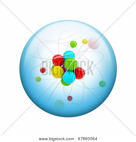 Abstract molecule. Spherical glossy button