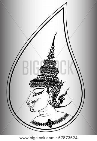 Deva Or Angel Head Of Thai Art