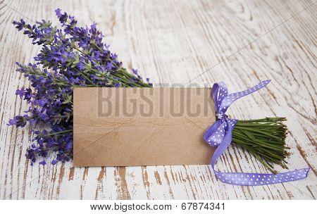 Lavender On Vintage Wood With Blank