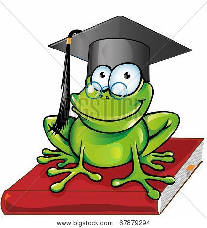Wise frog cartoon on book isolated on white background poster