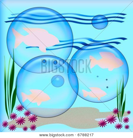 under the sea pink fish and opaque bubbles illustration poster