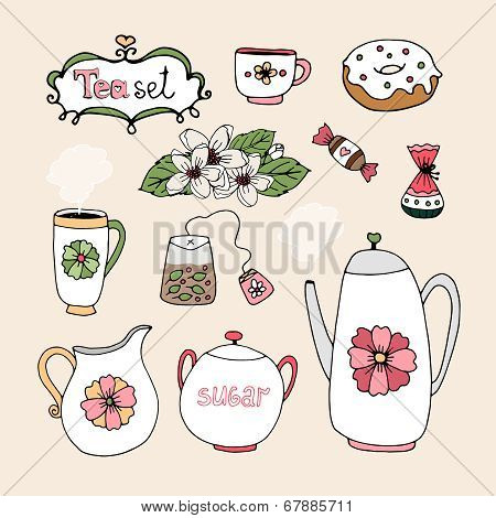 Set of vector tea service icons