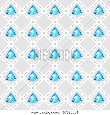Seamless Pattern With Blue Gemstones
