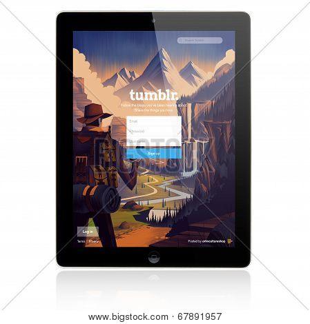 Tumblr Login page on Apple iPad screen