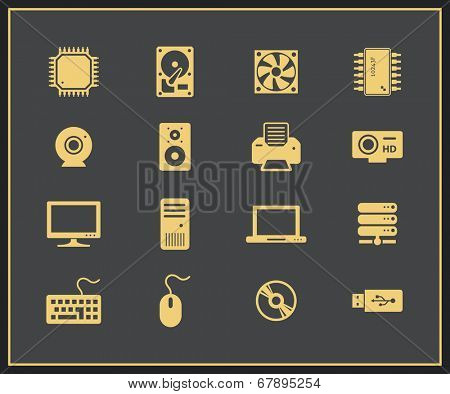 Computer hardware and peripherals icons. PC Components. Vector icons