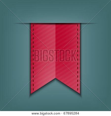 Bookmark decoration ribbon. Stitched silky ribbon. Vector illustration