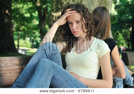 Angry Friends (teenage Girls) In Conflict