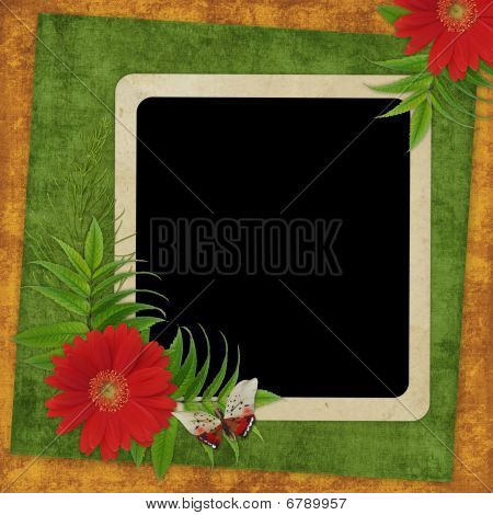 Vintage Card For The Holiday  With Flowers On The Abstract Background