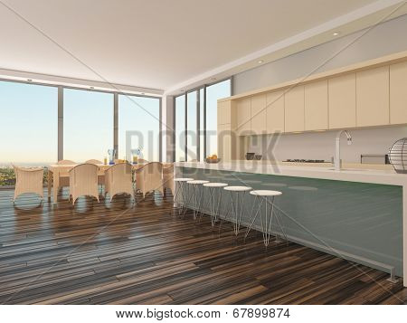 Upmarket open-plan kitchen and dining room with a contemporary dining table and chairs in front of large view windows with an urban view and a counter with bar stools connecting to the kitchen area