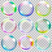 Set of nine multicolored transparent soap bubbles poster