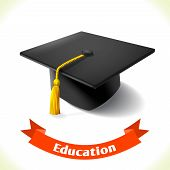 Realistic school education graduation hat icon with ribbon banner isolated on white background vector illustration poster
