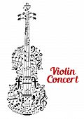 Creative vector Violin Concert poster design with the shape of a violin composed of music notes and clefs in a random scattered pattern in a text cloud and the text - Violin Concert - alongside poster