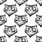 Seamless white and black background pattern of the head of a fierce owl with repeat motif in square format poster