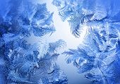 Frosty winter pattern at a window glass macro texture poster