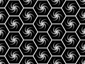 Design seamless monochrome hexagon geometric pattern. Abstract stripy background decorated with whirlpools. Vector art poster