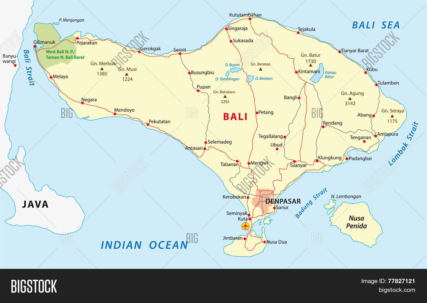 Bali Road Map Vector Photo Bigstock