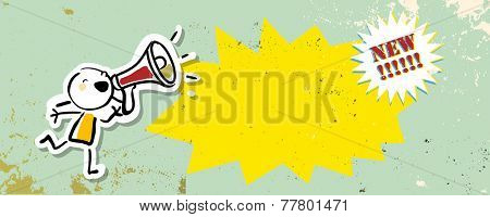 Megaphone kid, girl shouting. Communication, news announcement vector drawing, doodle.