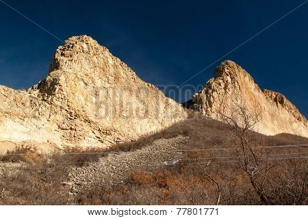 Stepped cliffs of volcanic dikes