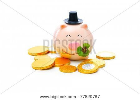 Four-leafed clover and piggybank with money