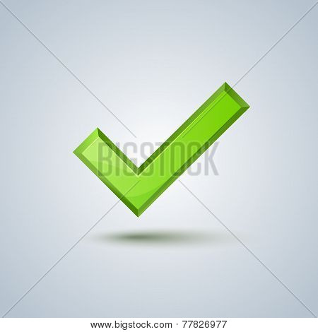 Isolated green check mark sign. Vector image