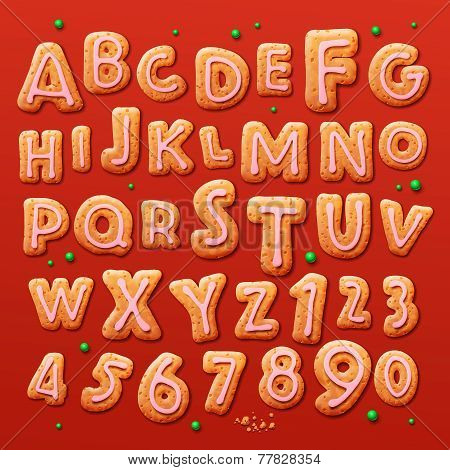 Christmas gingerbread cookies alphabet and numbers