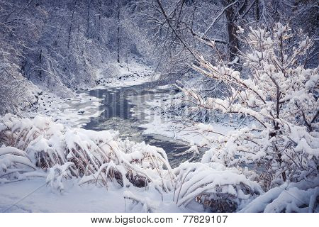 Winter landscape of snow covered forest with icy river after snowfall. Ontario, Canada.