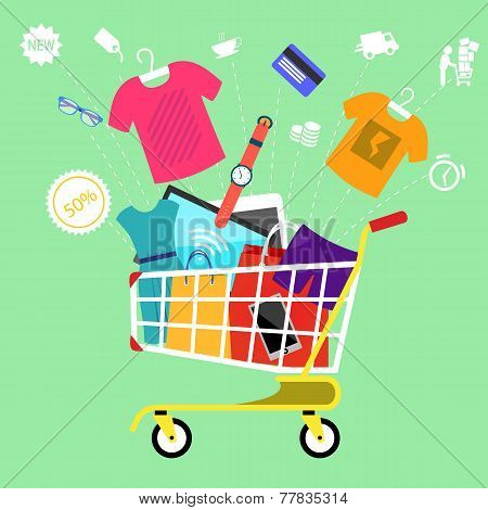Online shopping cart with goods concept
