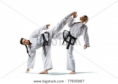 Two isolated professional female karate fighters are fighting on the grand arena poster