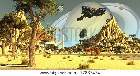 After terraforming Saturn's moon Titan Earth colonists set up a spaceport for incoming spaceships. poster